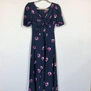 ASOS Midi Floral Print Front Knot Midi Dress Sz 4